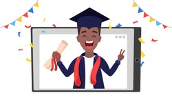African - American young graduated boy smiling and holding a diploma in tablet. Virtual graduation ceremony via video call from home during coronavirus isolation. Vector cartoon flat illustration