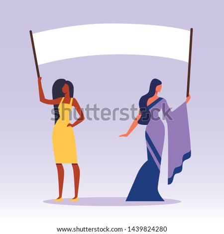 African and Indian Women with Placards on Demonstration, Holiday, Celebration, Festivity, Girls Characters Holding Empty Vote Banners and Signs, Protesting Citizen Cartoon Flat Vector Illustration