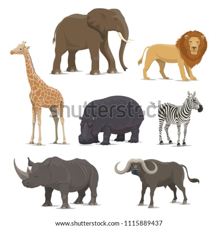 african animal cartoon icon set ...