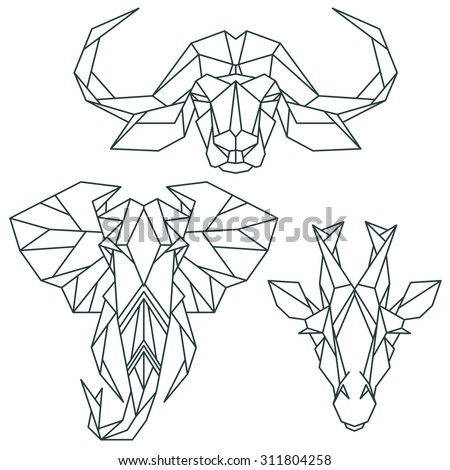 African animal icons, vector icon set. Abstract triangular style