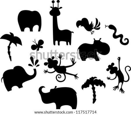 african animal set - stock vector