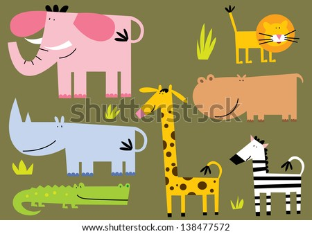African Animal.Set Of Seven Different Stile African Animal.