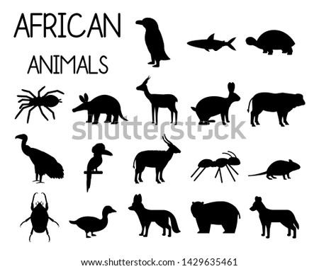 african animal silhouettes set