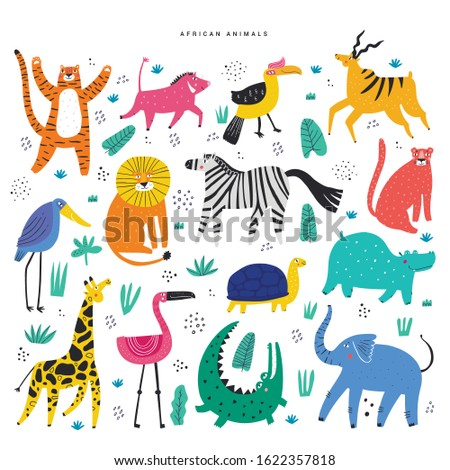 african animals and plants flat