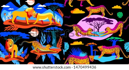 african animals bright color a