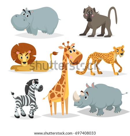 Shutterstock African animals cartoon set. Hippo, baboon monkey, lion, giraffe, cheetah, zebra and rhino. Zoo mammal collection. Vector illustrations isolated on white background.