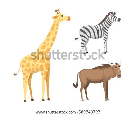 African animals cartoon vector set. elephant, rhino, giraffe, cheetah, zebra, hyena, lion, hippo, crocodile, gorila and outhers. safari isolated illustration