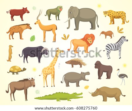 African animals cartoon vector set. elephant, rhino, giraffe, cheetah, zebra, hyena, lion, hippo, crocodile, gorila and outhers. safari isolated illustration.
