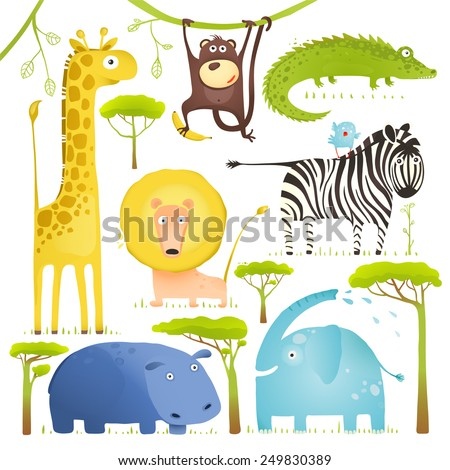 african animals fun cartoon