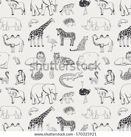 african animals graphic pattern