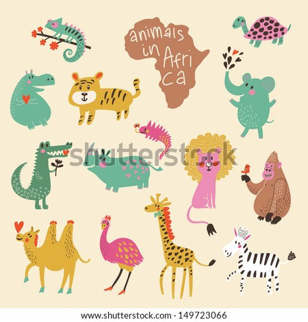 African animals: iguana, turtle, elephant, tiger, hippopotamus, crocodile, rhinoceros, lion, gorilla, camel, ostrich, giraffe, zebra in vector. Funny cartoon animals in bright colors. Childish set