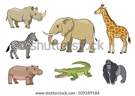 African animals in cartoon style. EPS8
