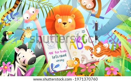 African animals in jungle reading ABC book and learning to write. Forest animals literature and education class, adorable kids animals studying how to read. Vector illustration in watercolor style.