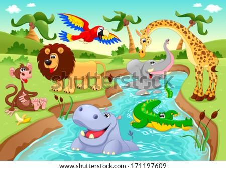 stock vector african animals in the jungle cartoon and vector illustration 171197609 - Каталог — Фотообои «Для детской»