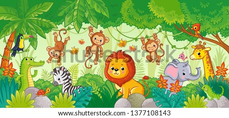 African animals in the jungle. Cute cartoon animals. Set of animals. stock photo