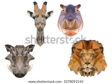 African animals in the style of low polygons. Giraffe, lion, hippo, warthog.