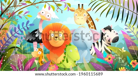 African animals jungle safari colorful cartoon for kids. Tropical forest or savanna with cute baby lion giraffe elephant and crocodile, funny exotic animals poster. Vector colorful illustration.