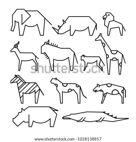 African animals line icons. Line art illustration. Elephant, rhinoceros, lion, monkey, gazelle, giraffe, wildebeest, zebra, cheetah, hyena, hippopotamus, crocodile.