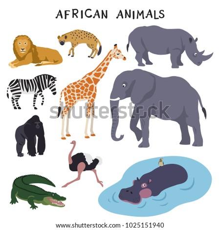 African Animals (lion, hyena, rhinoceros, zebra, giraffe, elephant, gorilla, ostrich, crocodile, hippopotamus)