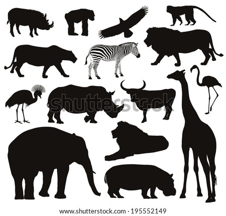 African animals silhouettes set Vector illustration EPS 8
