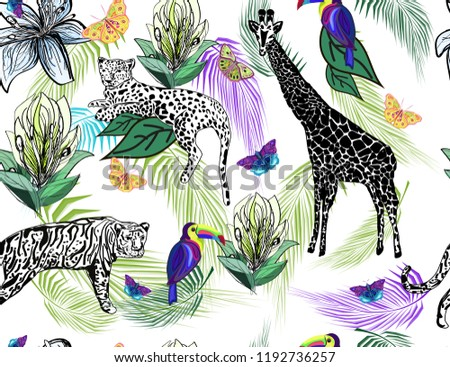 African animals, toucans, butterflies, palm leaves and lily flowers on white background, zebra texture, seamless vector pattern