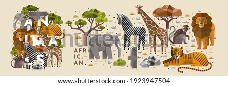 African animals. Vector illustrations of giraffe, elephant, zebra, eagle, monkey, tiger, lion, acacia tree and stone. Drawings of flora and fauna of the savannah Foto d'archivio ©
