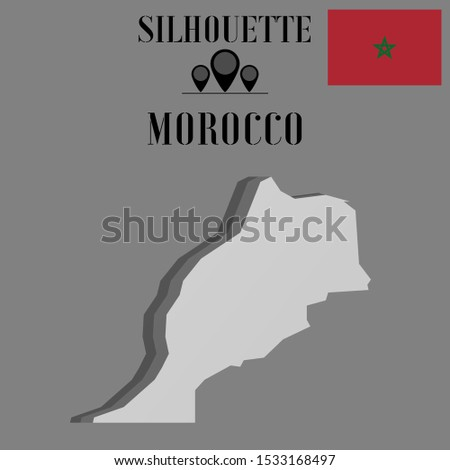 African, Arab Morocco outline world map silhouette vector illustration, creative design background, national country flag, objects, element, symbols from countries all continents set.