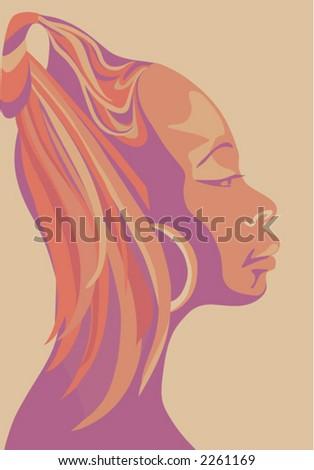 African Beauty -    beautiful women in profile (vector)