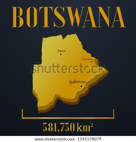 African Botswana golden 3d solid country outline silhouette, realistic piece of world map template, for infographic, vector illustration, isolated object, background. From countries set