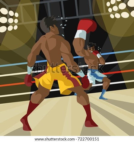 african boxer performing an uppercut punch on opponent Zdjęcia stock ©