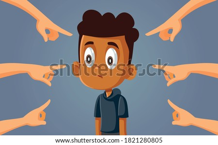 African Boy Facing Discrimination and Bullying. Upset young schoolboy facing public racism and prejudice    Stockfoto ©