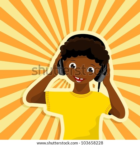 african boy with headphones listening to music - vector illustration