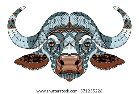 african buffalo head zentangle
