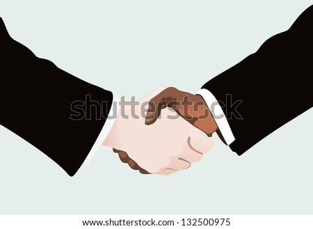 African businessman shaking hands with white one - stock vector