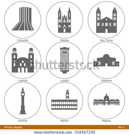 african capitals icon set