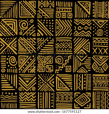 African clash vector seamless pattern in ethnic tribal style. Can be printed and used as wrapping paper, wallpaper, textile, fabric, apparel, etc. Сток-фото ©