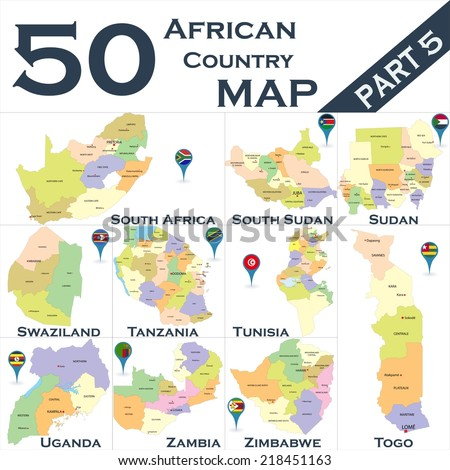 African country set with map pointers - Part 5