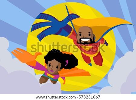 african couple superhero man