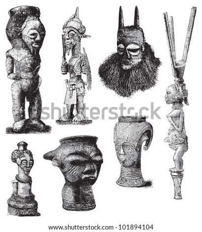 African culture - mask and sculpture / vintage illustration from Brockhaus Konversations-Lexikon 1908