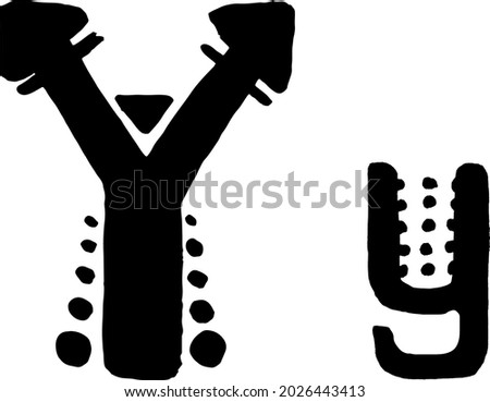 African Culture Vector Alphabet Black Color Isolated on Whute Background. Letter Y Symbol. Antique Africa Font with Afro Letters. Vintage Cool Typeface Zdjęcia stock ©