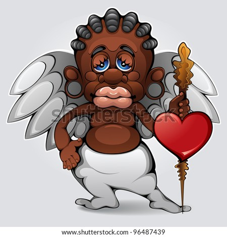 African Cupid - stock vector