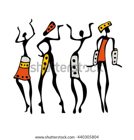 African dancers. People Dancing silhouettes in ethnic style. Vector Illustration.