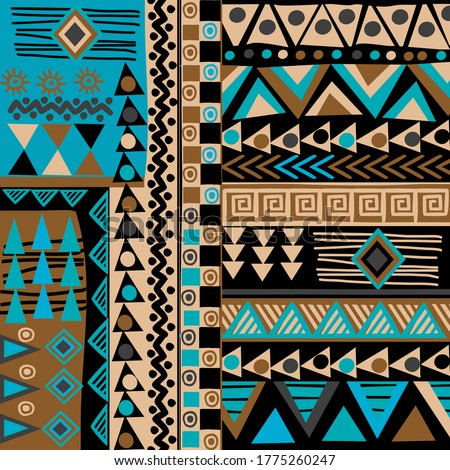 African doodle ethnic texture in blue and brown colors ストックフォト ©