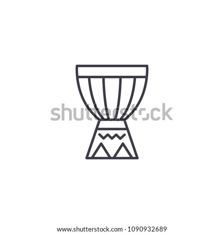 African drum linear icon concept. African drum line vector sign, symbol, illustration.