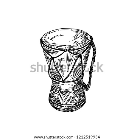 African drum. Sketch. Engraving style. Vector illustration.