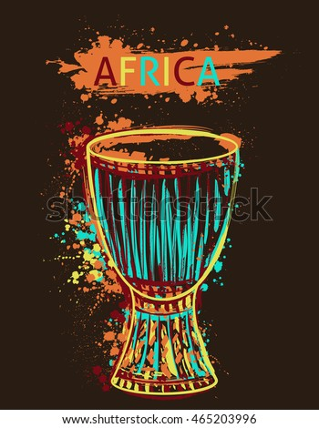 African drum tam tam with splashes in watercolor style. Colorful hand drawn vector illustration