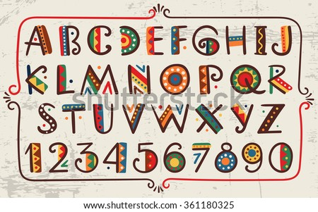 African ethnic bright vector alphabet Hand drawn graphic font Primitive simple stylized design