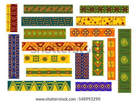 African ethnic decorative ornaments. Tribal and national decoration with stylized elements of plants, flowers, human, animal. Bright  geometric shapes for fabric, textile, tapestry