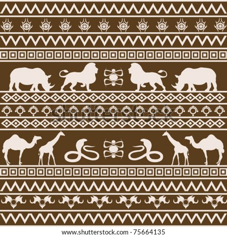 African ethnic texture with wild animals