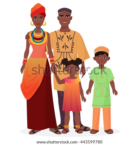 African family. African man and woman with boy and girl kids in traditional national clothes.